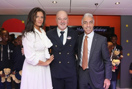 MIAMI, FL - DECEMBER 21: Andrea Bocelli Foundation (ABF) Vice-Chairman, Veronica Berti, MSC Seaside Master, Pier Paolo Scala, MSC Cruises USA Chairman, Roberto Fusaro on December 21, 2017 in Miami, Florida. (Photo by Aaron Davidson/Getty Images for MSC Cruises) *** Local Caption *** Veronica Berti; Pier Paolo Scala; Roberto Fusaro