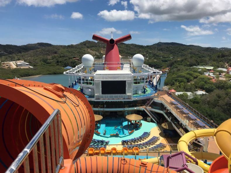 View atop waterslide on Carnival Vista