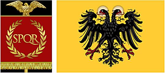 Xth Legion of Julius Caesar and Holy Roman Empire flags