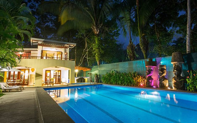 Discovery Beach House pool at night