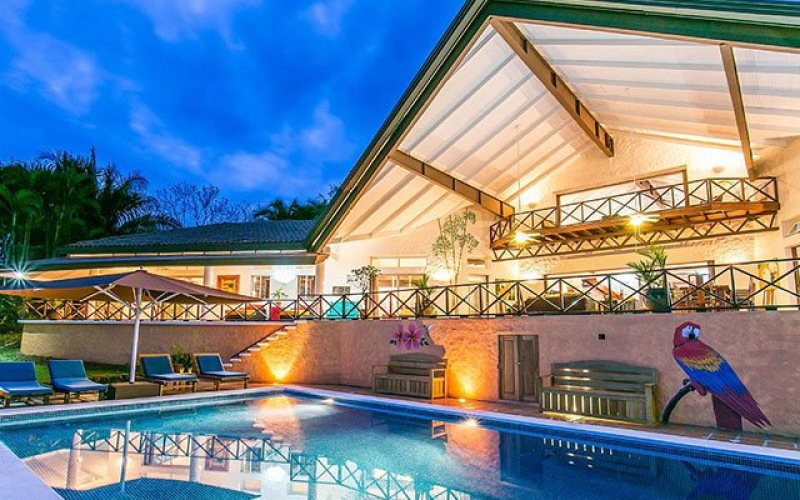 Manuel Antonio Vacation Rental VP Private Resort pool and deck at night