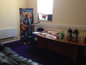 Dave Barry tuning up for a stint on National Community Radio Day