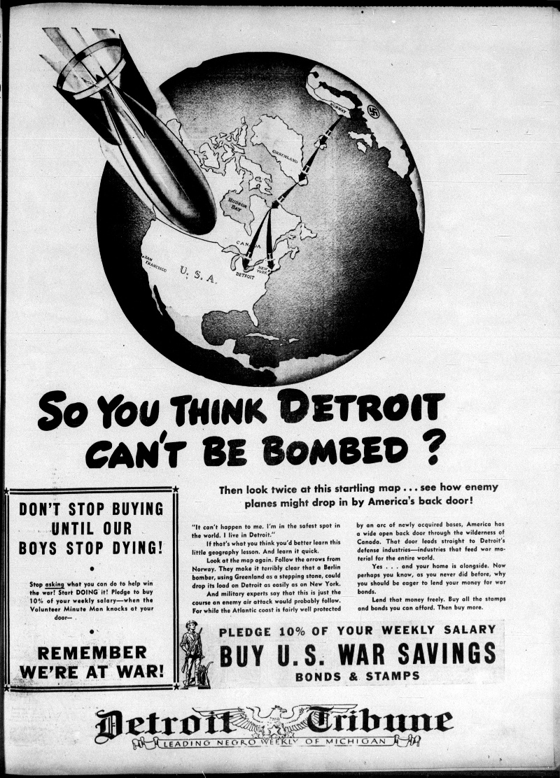 "This edition of the Detroit Tribune from October 16, 1943, warned that Greenland could serve as a ""stepping stone"" to the Nazis bombing America."