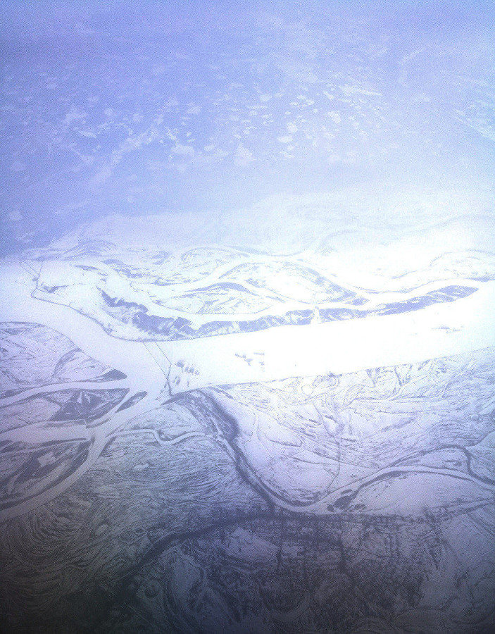 The frozen Lena River seen from 30,000 feet up.