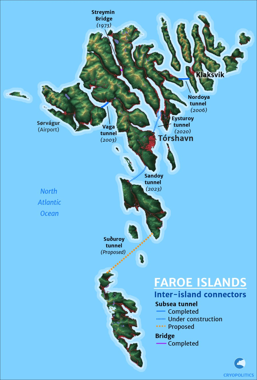 A map of bridges and subsea tunnels in the Faroes.