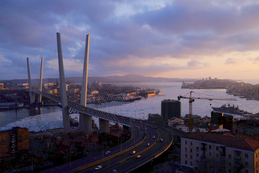 Zolotoy (Golden) Bridge in Vladivostok, Russia, with ice under the bridge.