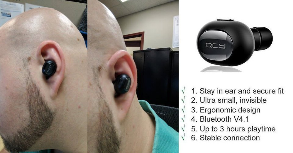QCY Bluetooth Earbud Wireless Headset Invisible Headphone Mini Earphone Earpiece with MIC