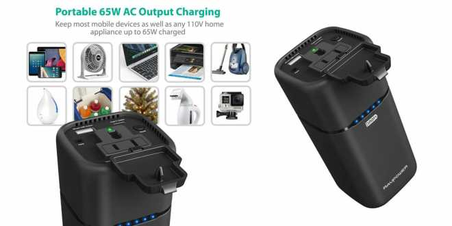Portable AC outlet, USB-C, USB-A RAVPower delivers 20100 battery power!