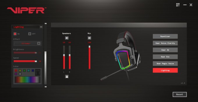 Gaming Headset Patriot Viper V380 Review RGB settings