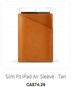 Slim fit iPad Air Sleeve - Tan