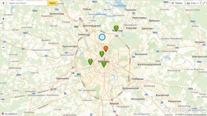 Карта криптоматов в России