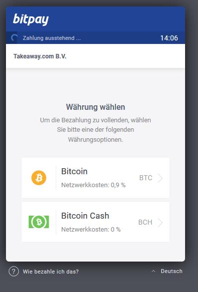 lieferando bitcoin cash