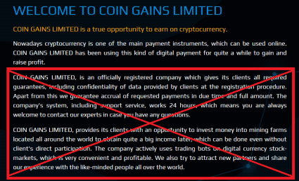 Coin Gains Limited Scam