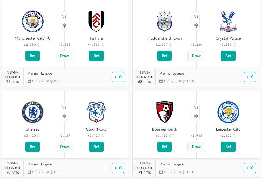 Onehash Bitcoin Premier League, Mutual betting platform