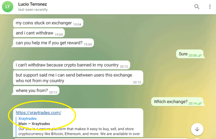 Chat with fraudster