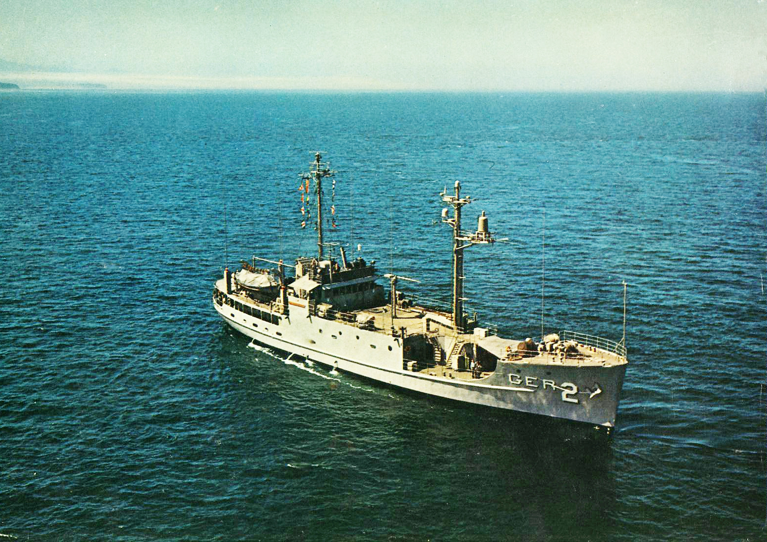 Official US Navy photograph of the U.S.S. Pueblo, taken shortly after it went into service as the AGER-2 intelligence gathering ship on May 13, 1967. Crypto Museum image.