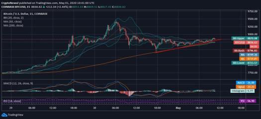 Bitcoin Draws an Accumulating Yet Upward Trend at $8.8k