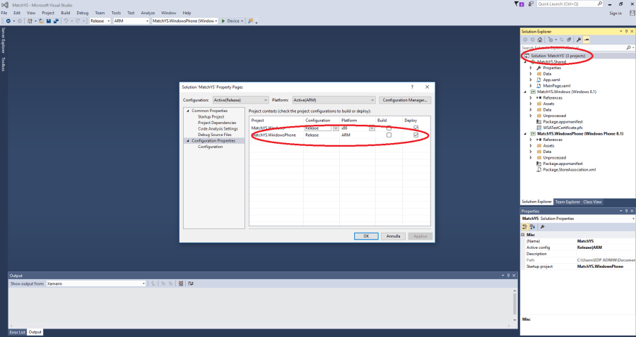 Visual Studio - Windows Phone SOLUTION config