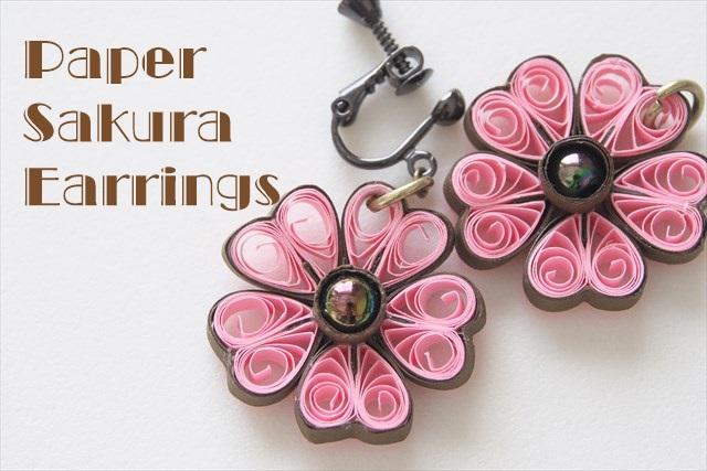 ペーパークイリングで作る桜色のイヤリング(ピアス)