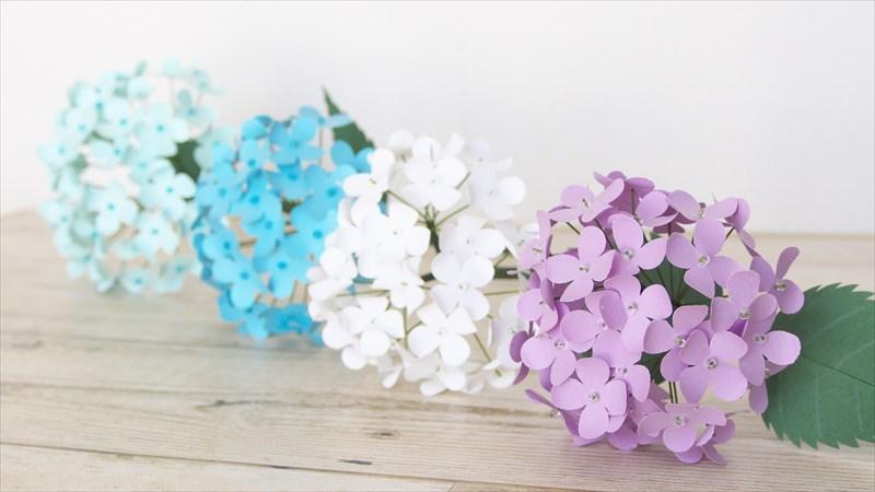 クラフトパンチで作る紫陽花の花