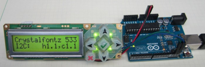 Tutorial: Connect an Arduino to a Crystalfontz 533 Keypad LCD