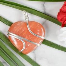 Hänge wirewrap hjärta orange aventurin