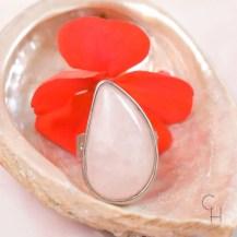 Ring droppe rosenkvarts