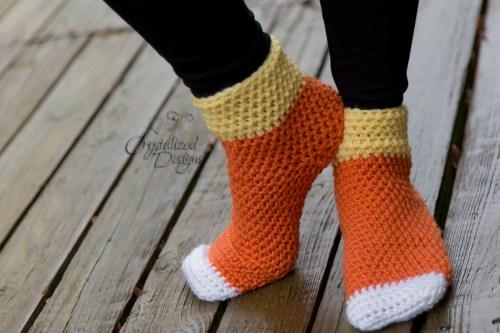 Candy Corn Socks A Free Crochet Pattern Crystalized Designs Blog