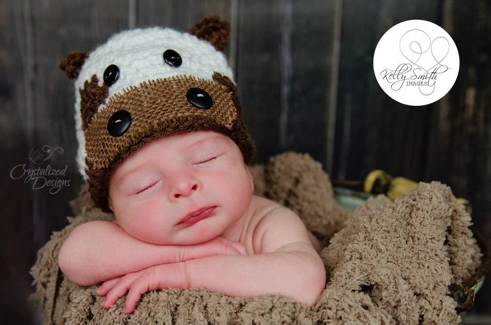 Newborn Cow Beanie Crochet Pattern