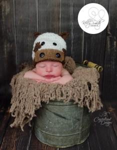 Lil Cow Newborn Beanie Free Crochet Pattern