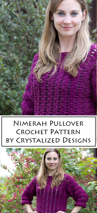 Nimerah Pullover Crochet Pattern by Crystalized Designs
