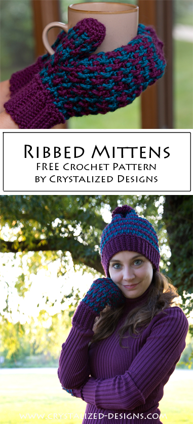 Ribbed Mittens Crochet Pattern by Crystalized Designs
