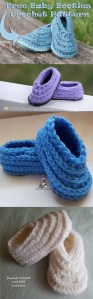 Ridged Baby Booties Free Crochet Pattern by Crystalized Designs