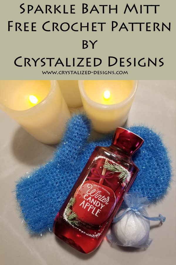 Sparkle Bath Mitt Free Crochet Pattern Scrubby by Crystalized Designs