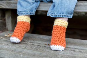 Candy Corn Socks Baby Sizes Free Crochet Pattern by Crystalized Designs