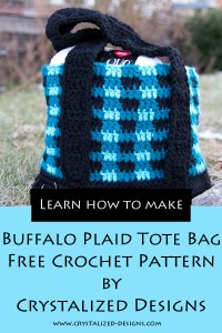 Buffalo Plaid Tote Bag Free Crochet Pattern by Crystalized Designs