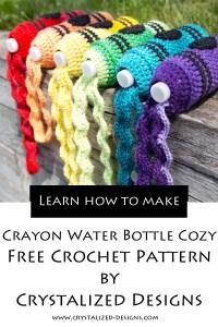 Crayon Water Bottle Cozy Free Crochet Pattern by Crystalized Designs