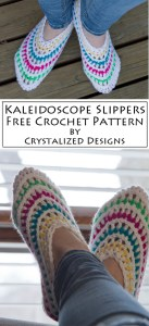 Kaleidoscope Slippers Free Crochet Pattern by Crystalized Designs