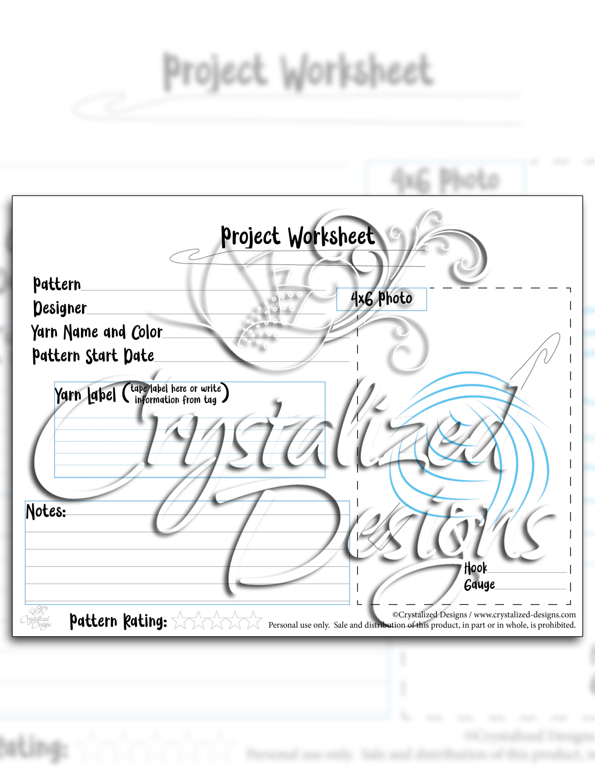Project Worksheet By Crystalized Designs