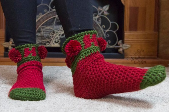 Ho Ho Ho Crochet Sock Pattern by Crystalized Designs