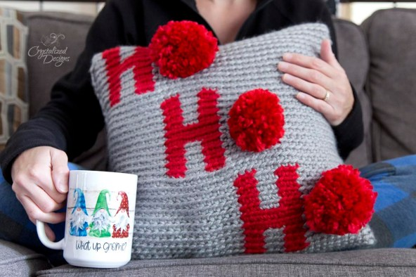 Ho Ho Ho Holiday Pillow Cover Crochet Pattern