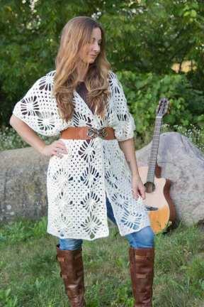 Crochet Crystalized Boho Cardgian Wrap Free Pattern