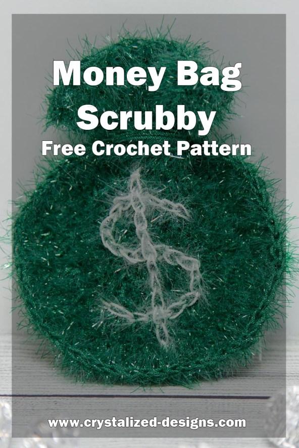 Money Bag Scrubb Free Crochet Pattern by Crystalized Designs