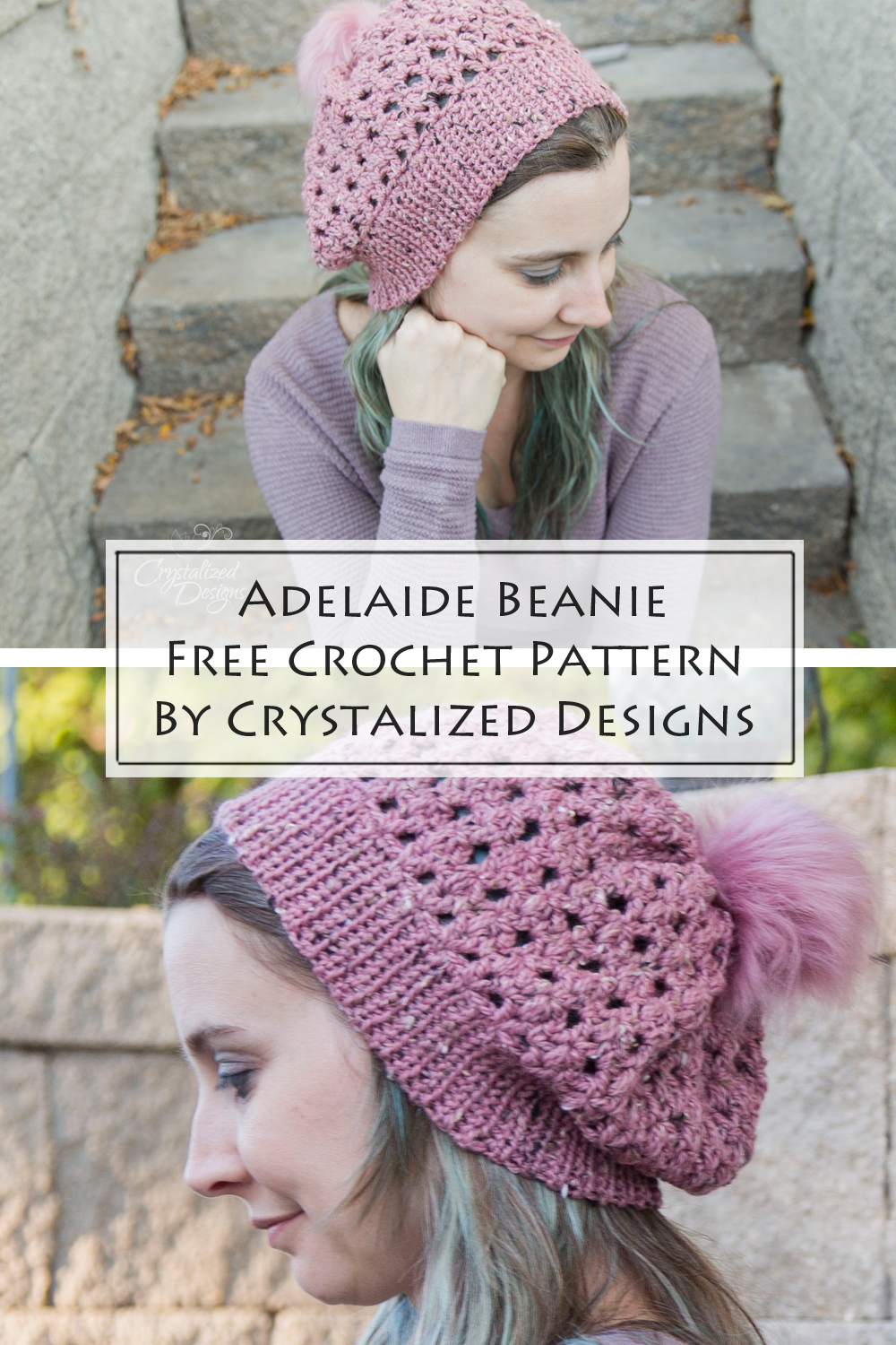 Adelaide Beanie Free Crochet Pattern by Crystalized Designs