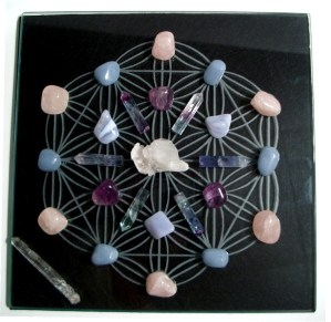 Circle of life crystal grid on engraved glass $100