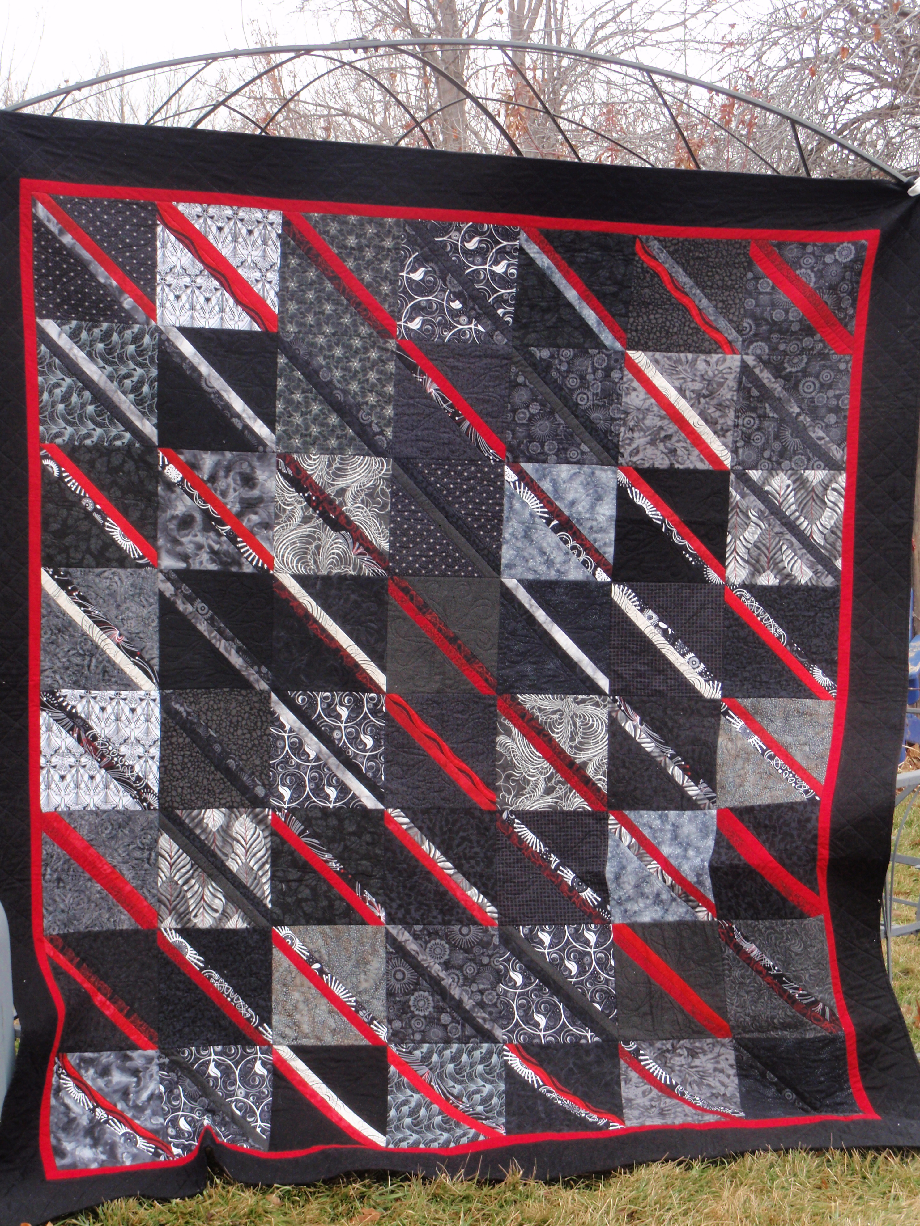 Red and black quilt for Jake