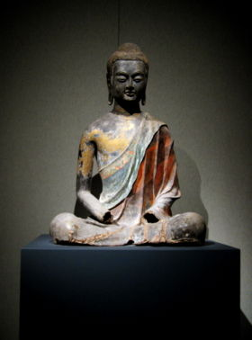 Seated Buddha, from the Chinese Tang dynasty, Hebei province, ca. 650 CE. Buddhism in China is of the Mahayana tradition, with popular schools today being Pure Land and Zen.