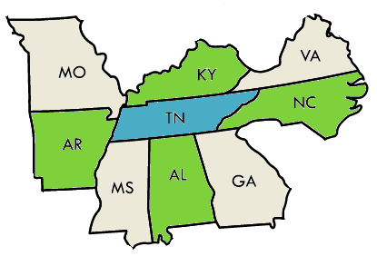 Tennessee and adjacent states 3-colored