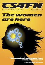 The cover of the cs4fn annual 2 - womans head with cogs