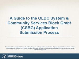 Guide to the OLDC System and CSBG Application Submission Process slide